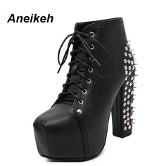 Cheap botas shoes, Buy Quality ankle boots directly from China rivet ankle boots Suppliers: Aneikeh Women Rock Punk Spikes Rivets Ankle Boots Biker Lita Platform Chunky Block Ultra High Heel Bota Shoes High Top D- 456-3