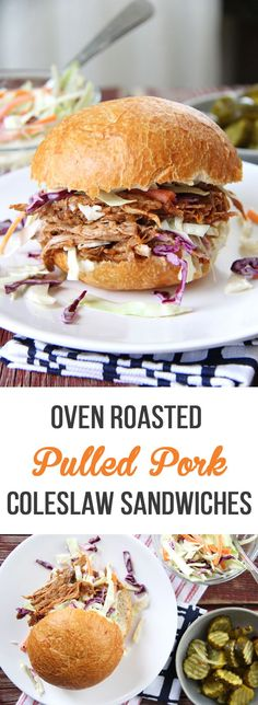 This recipe for Oven Roasted Pulled Pork and Coleslaw Sandwiches is a family favourite!  Serve it with homemade coleslaw and dill pickles...delicious!... #Coleslaw #Family #forOven #Pork #Pulled #RECIPE #Roasted #Sandwiches