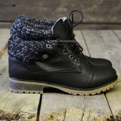 SZ Mountain Trek Black Cuffed Sweater Boots from Amazing Lace. Shop more products from Amazing Lace on Wanelo. Sock Shoes, Cute Shoes, Me Too Shoes, Shoe Boots, Shoes Sandals, Ankle Boots, Shoe Bag, Sweater Boots, Crazy Shoes