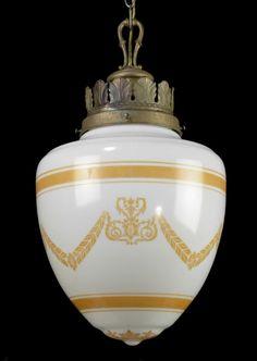 200 Ornate Antique Pendant Light Milk Glass Ceiling Chandelier ( PAIR or THREE ) #EuropeanFrenchOrnate