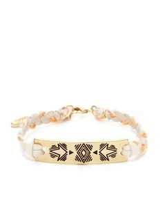 Cream Leather Southwestern Bar Bracelet by Ettika Jewelry at Gilt