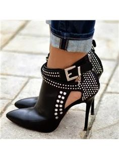 2016 new fashion rivet high heels botas leather ankle boots women shoes zapatos mujer bot martins Hot Shoes, Women's Shoes, Me Too Shoes, Louboutin Shoes, Shoes Style, Footwear Shoes, Christian Louboutin, Nike Shoes, Shoes Men