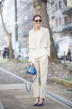 Swap out your large satchel for a bright mini bag this spring. // #streetstyle #fashion #style