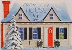 #543 50s Glittered House Vintage Diecut Christmas Greeting Card