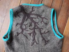 Felt applique on felted lambswool, edged in raw silk and finished with sweet little vintage buttons. Fox Fabric, Felt Applique, Vintage Buttons, Tree Branches, Vest, It Is Finished, Silk, Bags, Clothes