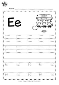 Free letter e tracing worksheets little dots education preschool and activities character for first grade . Letter E Activities, Alphabet Tracing Worksheets, Handwriting Worksheets, Tracing Letters, Printable Worksheets, Handwriting Practice, Free Printable, Alphabet Letters, Abc Tracing
