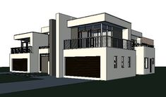 This modern 4 bedroom house plan features spacious rooms and spaces. A 643 sq meter, signature double storey house floor plan design with images. Flat Roof House Designs, 4 Bedroom House Designs, 6 Bedroom House Plans, My House Plans, Garage House, House Roof, Japanese Apartment, Inspiration Garage, Diy Design