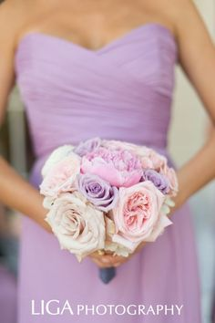 Soft purples and pinks for a bridesmaid bouquet