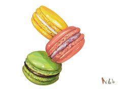 혹시 마카롱 좋아하시나요? Nbb는 마카롱을 엄청 좋아하진 않지만 가끔 하나 사먹는 재미?를 느낀답니다 ... Sweet Desserts, Sweet Recipes, Cute Food, Yummy Food, Chef Kitchen Decor, Food Sketch, Food Cartoon, Food Stickers, Cupcake Art