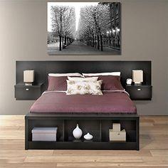 Prepac Series 9 Platform Storage Bed with Floating Headboard in Black - BBX-BHHX-BED (diy storage room platform beds) Queen Bedroom, Queen Headboard, Wood Headboard, Bedroom Sets, Bedroom Decor, Modern Bedroom, Black Headboard, Bedroom Simple, Headboard Ideas