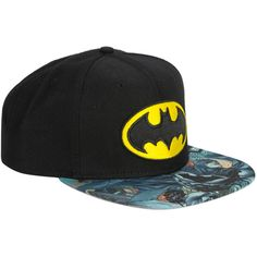 13d0d84848b Black snapback hat from DC Comics with a classic yellow embroidered Batman  logo and Batman soaring through Gotham sumblimation bill. One size fits  most