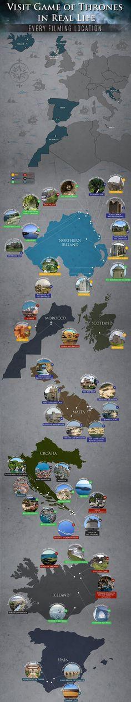 A agência de viagens Lawrence of Morocco criou um esquema que revela as verdadeiras localizações onde a série Game of Thrones foi filmada.