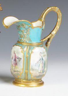 "Sevres Hand Painted Porcelain Pitcher - Artist Signed ""Finel"""