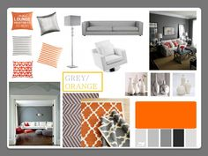 Orange and Grey living room create a mood board like this? sofa: dark grey | unit: teak | ceiling, blinds, skirting: white | fire place: stone/cream | cushions: ??? | wall ??? | chair: ??? | coffee table: ???