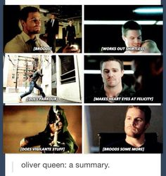 Oh and dont forget the jealous faces he makes at peopl who look at Felicity