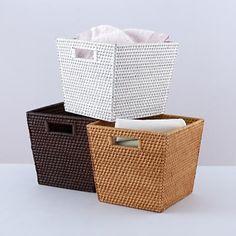 Rattan I Am Storage Collection Cube Basket in Storage Bins