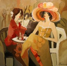 "Original Painting ""Espresso Retreat I"" by Isaac Maimon"