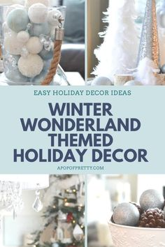 How to create a stunning holiday or Christmas decor theme, inspired by Winter Wonderland with lots of blue, silver and white frosty decorations, along with springs of holly berries and more.  Christmas tree decorating ideas, mantel decor inspiration, and ideas for tabletop vignettes. #christmasdecor #christmasdecoratingideas #christmastreedecor #winterwonderland