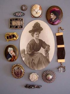 Victorian-era brooches pins & lockets [from Mourning Glory Antiques & Jewellery]