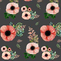 Floral Fabric  Sweet Jane In Grey  Medium Print 5.25