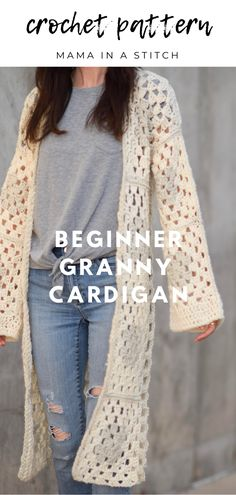 Granny Cardigan Free Crochet Pattern Love this super simple cardigan! It's also really fast to make Crochet Jacket Pattern, Crochet Coat, Crochet Shawl, Crochet Clothes, Easy Crochet, Free Crochet, Crochet Granny, Granny Pattern, Gowns