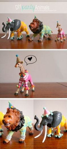 party animals! Cute DIY to pull out for birthdays. Could also do with dinosaurs.
