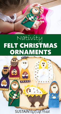 Add a special handmade touch to Christmas with beautiful felt Nativity ornament patterns. Perfect for a variety of nativity crafts for the holidays. Includes baby Jesus in a manger, Mary, Joseph, Three Wise Men and Angel. Nativity Ornaments, Nativity Crafts, Felt Christmas Ornaments, Ornament Crafts, Christmas Decorations, Preschool Crafts, Crafts For Kids, Felt Stocking, Three Wise Men