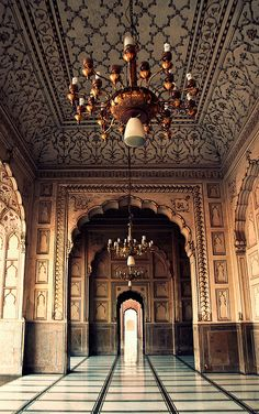 I adore the roof and ornate Moroccan archways. Lahore, Pakistan