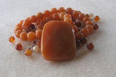 Red Aventurine Pendant and Beads, Jade Beads, Glass Beads, DIY Jewelry Kit, Gemstone Beads
