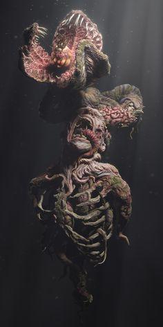 Reincarnation by Ecem Okumus Creature Feature, Creature Design, Sci Fi Fantasy, Dark Fantasy, Primal Fear, Horror Themes, Cool Monsters, Creature Concept, Tentacle