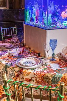 """A table with the """"Antilles"""" Pierre Frey fabric, designed by Sasha Bikoff for the Lenox Hill gala."""