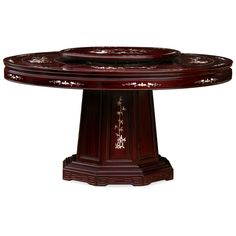 60in Rosewood Pearl Inlay Design Round Dining Table with 8 Chairs. Mother-of-pearl decoration is hand-inlaid throughout the entire table. A removable lazy Susan situates in the center providing convenience for passing the dishes. Dark cherry finish. Oriental Rosewood dining set.