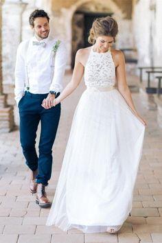 Simple White Lace A-line Elegant Beach Wedding Dresses – Okdresses