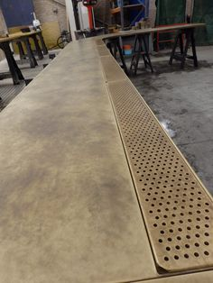 Long Curved Aged Brass Bar Top with Integrated Drip Tray