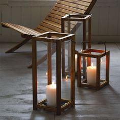 Beautiful Teak Wood Lanterns - for indoor or outdoor use. Soft candlelight always adds a touch of relaxing  ambiance.