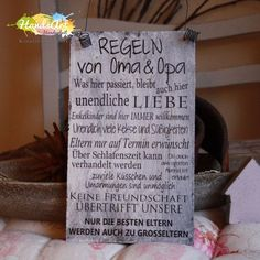 """Regeln von Oma & Opa HandsArt Handmade Shabby Shield + Wire Hanger """"Rules of Grandma & Grandpa"""" … Hand Art, Grandma And Grandpa, Baby Quotes, Love Is Sweet, Birthday Quotes, Kids And Parenting, Letter Board, New Baby Products, Texts"""