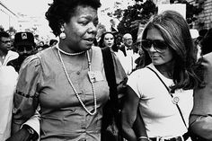 """""""I love to see a young girl go out and grab the world by the lapels."""" ~ Maya Angelou Picture: Maya Angelou and Gloria Steinem on their way to the March on Washington on August 1983 in Washington, DC. Maya Angelou, Black History Month, Gloria Steinem Quotes, Oui Oui, Ladies Day, Woman Quotes, Girl Quotes, Book Quotes, Girl Boss"""