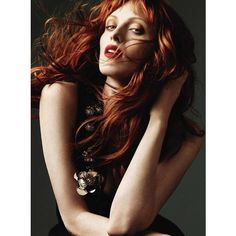 Karen Elson: Harpers Bazaar UK October 2010 > photo 116354 > fashion... ❤ liked on Polyvore featuring models, people and backgrounds