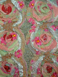 Anita Quansah London Follow 10  Textile swatch created from vintage and recycled fabrics which is meticulously fused together using different textile techniques and embroidery.