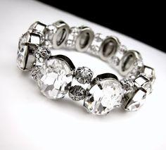 bridal bracelet wedding bracelet Swarovski clear by DesignByKara, $86.00