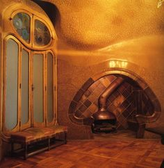 Fire place at Casa Batllo, Spain. Designed by Antoni Gaudi in 1904.