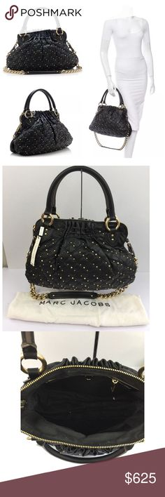 "Marc Jacobs Cecilia studded black quilted bag The black quilted Italian leather Marc Jacobs Cecelia can be dressed up or down. The bag has gorgeous gold-tone hardware, ruching at top, two interior pockets; one featuring zip closure and zip closure at top  15.5"" L x 7"" W x 11"" H; 6"" handle drop  Great condition. Was a store return so not 100% sure if it was used so it's listed as pre-owned. Still has retail tag on front but was tied back on. Clean inside and out. Comes with dust bag   Retails…"