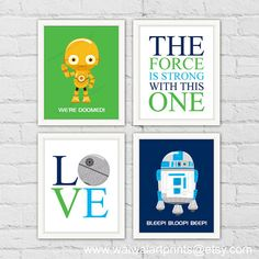 Star Wars Boy Nursery Room Decor. C-3PO R2-D2. by waiwaiartprints