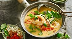 Thai-style pumpkin and prawn soup