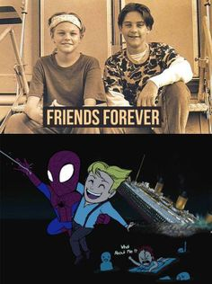 Fandom Mash Up: Spider Man. Titanic. Leonardo DiCaprio and Tobey Maguire. Friends Forever And Ever