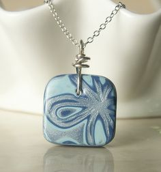 Wired Orchid | Blue Flower Abstract Small Square Pendant