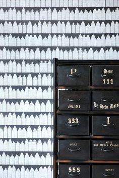 Tapetti Amsterdam Houses 137715 m musta/valkoinen non-woven