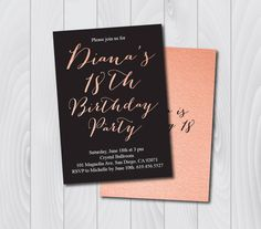 18th birthday invitationprintable gold pink birthday invitatione 18th birthday invitationprintable pink black birthday invitatione card invitationtemplatebirthday invitationeighteenth birthday card by filmwisefo