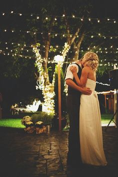under those pretty white lights, if inside, make the lights dim so the attention is all on the two of you: First Dance, Dance Floors, White Lighting, String Lighting, Christmas Lighting, Backyard Weddings, Outdoor Weddings, Weddings Dance, Outdoor Receptions