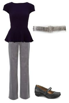 Business Casual Starter Kit Day 15: Navy peplum top, gray pants, silver metal belt, black shoes.